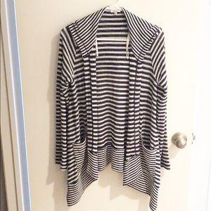 🥑 SPLENDID Blue Striped Sweater Hoodie (Size M)